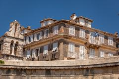 Specific old corfu town facades, greece Stock Photos