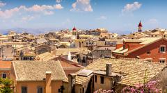 Corfu town arial view, Greece - stock photo