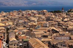 panorama of the capital of corfu, greece - stock photo
