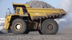 Stock video footage Mining truck turns unloading 2 Stock Footage