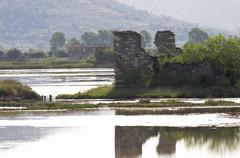 salines of secovlje at the adriatic coast - slovenia - stock photo