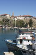 Stock Photo of antalya at the south coast turkey the harbour with the historic city center a
