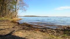 Spring. View on big lake Zhizhitskoye of Pskov region. Russia. Stock Footage
