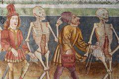 danse macabre - frescos in the church sv. trojica ( hl. trinity ) in hrastovl - stock photo