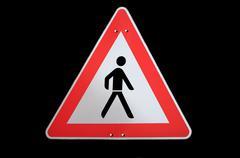 Taffic sign caution pedestrian Stock Photos