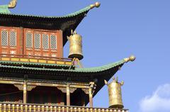 prayer mills magjid janraisig tempel gandan monastery ulaan-baatar mongolia - stock photo