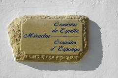 sign from stone, lookout point, mirador cronistas, altea, costa blanca, spain - stock photo