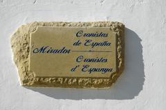 Sign from stone, lookout point, mirador cronistas, altea, costa blanca, spain Stock Photos