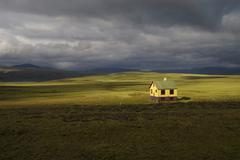 Solitary summer residence on the plain mosfellsheiði iceland Stock Photos