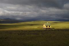 solitary summer residence on the plain mosfellsheiði iceland - stock photo