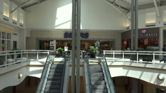 Urban shopping mall escalator to second floor Stock Footage