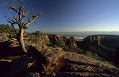 view of the colorado valley, colorado national monument - stock photo