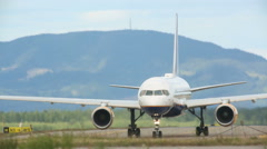 Airplane taxiing at Oslo Airport Stock Footage