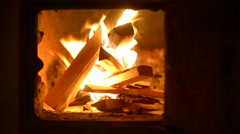 Night. Firewood burning in the village oven. Stock Footage
