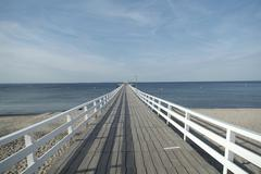 Seabridge in niendorf ostsee lubecker bucht deutschland - stock photo