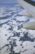Aerial view (out of aeroplane, with wing) of the river iller in winter (this  Stock Photos
