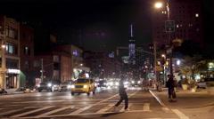 Manhattan Night Freedom Tower Cars Traffic Street Driving New York City NYC 4K Stock Footage