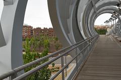 Spherical metal modern bridge madrid, spain Stock Photos