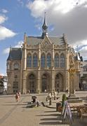 At the Fischmarkt Square Old City Hall neogothic Style from 1869 and the Roman Stock Photos