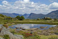 Tarn on mt pelion east overland track in cradle mountain lake st clair nation Stock Photos