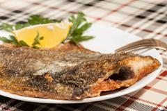 Fried flounder. Stock Photos