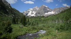 Maroon Bells and River, Colorado, Rocky Mountains USA - stock footage