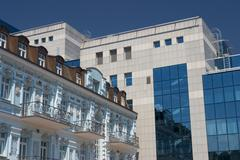 Ukraine kiev district of podil old and new modern architectur with glas blue  Stock Photos