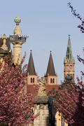 Wurzburg Hofgarten Cathedral Wuerzburg Franconia Bavaria Germany Stock Photos