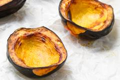 Baked acorn squash - stock photo