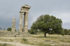 Classical greece pillars of ruined apollp temple rhodes town island of rhodes Stock Photos