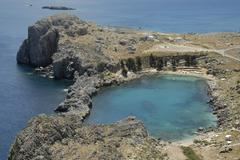 Stock Photo of view on the agios paulos bay lindos island of rhodes greece