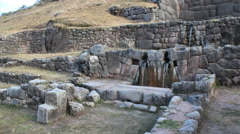 Tambomachay - series of aqueducts, canals and waterfalls - Peru Stock Footage