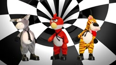Animals puppets Black and white background Stock Footage
