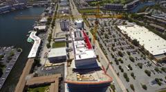 Aerial Beachwalk Hallandale flyover pan to beach Stock Footage