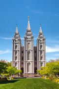 mormons temple in salt lake city, ut - stock photo