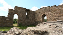 St Margarets Church well preserved ruin slider shot - stock footage
