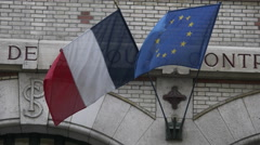 French & EU flags in breeze 4k Stock Footage