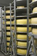 Emmentaler in alpine dairy in ofterschwang - germany Stock Photos