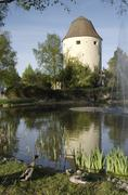 The schoelbinger tower part of the old town fortification hartberg styria aus Stock Photos