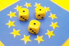 fallen dice in eu - stock photo