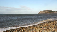 Little Orme and wind farms at Llandudno Stock Footage
