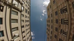 High-angle view motion-jib shot of center of the city.  - stock footage