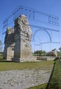 roman arch called heidentor and reconstruction in archeological park of carnu - stock photo