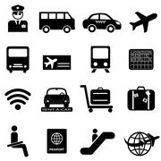 Airport and air travel icons Stock Illustration