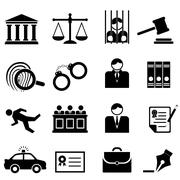 Legal, law and justice icons Stock Illustration