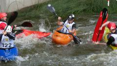 Kayak cross competition, 4k - stock footage