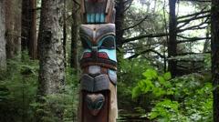 Second Twin, totem pole, sitka national historical park, sitka, alaska Stock Footage