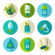 Ecology and waste flat icons set Stock Illustration