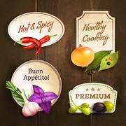 Herbs and spices badges set Stock Illustration
