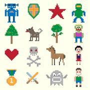 Game pixel characters - stock illustration